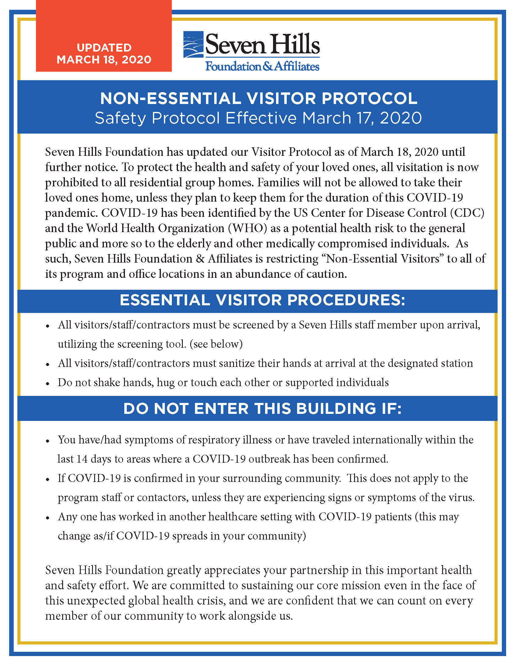 COVID-19 Protocol Poster
